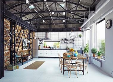modern loft kitchen interior. 3d rendering concept